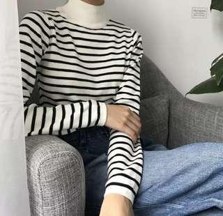 簡約高領條紋顯瘦針織衫