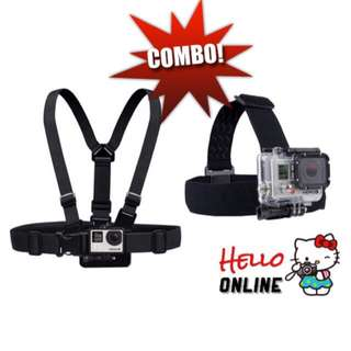Chest Mount Band Strap & Head Strap For Action Camera Sports Camera