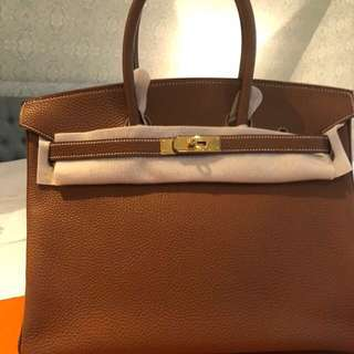 Authentic pre owned Hermes Birkin 35 Togo in gold