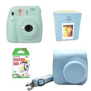 Fujifilm Instax Mini 9 Ice Blue Leather Bag and Album Bundle