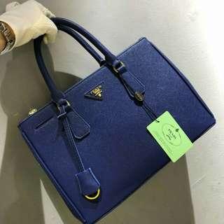 PRADA Saffiano Lux Tote Dark Blue Color