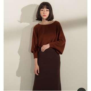 Boga Shop 韓國超親膚袖縮口毛料上衣 磚紅