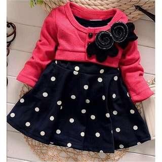 Kids Flower Polka Dress
