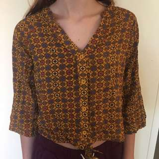 Yellow patterned top