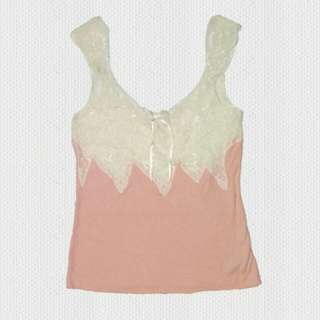 STRETCHABLE PINK LACE TOP