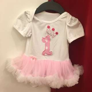 Baby girl 1st birthday romper tutu dress