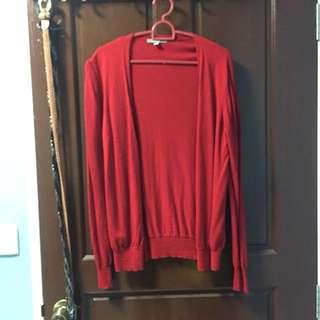 Red Uniqlo Cardigan