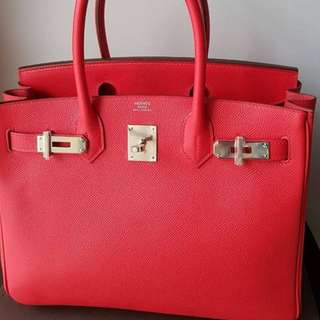 Authentic Hermes birkin 30 rouge tomate epsom phw stamp A