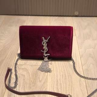 YSL Swarovski wallet with velvet leather