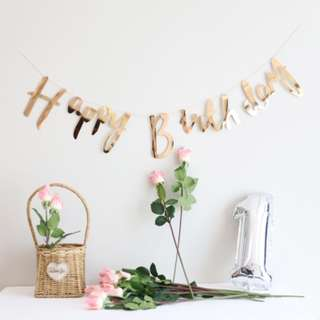 Happy Birthday Bunting. Happy birthday Banner. Rose Gold. Silver