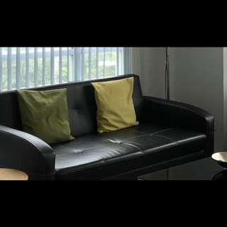1 black leather 3 seater sofa& 2pcs single black sofa