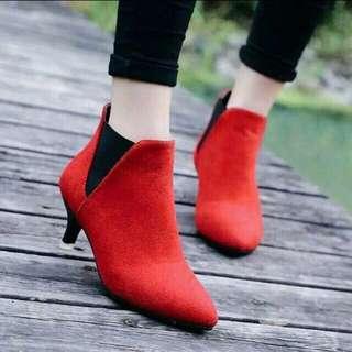 Suede half boots (maroon)