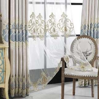 歐式繡花奢華臥室窗簾