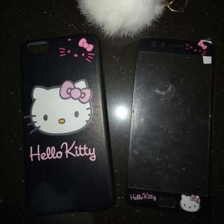 OPPO f3 hello kitty case with tempered