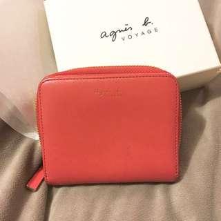 Agnes b voyage 短夾 橘紅色