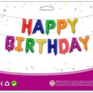 Multi-colors Plain Happy Birthday Set Foil Balloons
