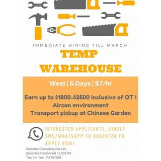X10 Temp Warehouse - Earn up to $2.5K with OT ! No exp !
