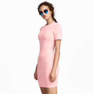 REPRICE! H&M Ribbed Jersey Dress (pink)
