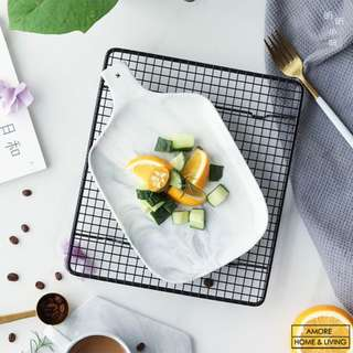 Marble Pattern Ceramic Plate Tray With Handle