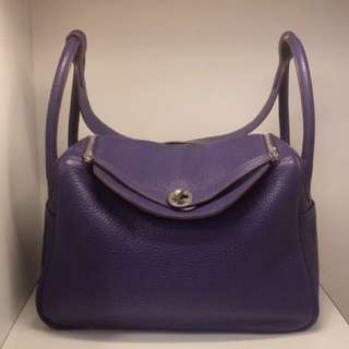 正品 88%新 Hermes Lindy 30 紫色銀扣 明星同款!