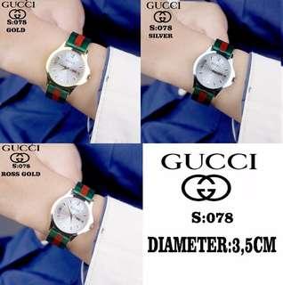 #078 #Gucci Watch Bahan Mika Kualitas Semi Premium Diameter:3,5cm  Warna: ~Gold ~Silver ~Ross Gold.