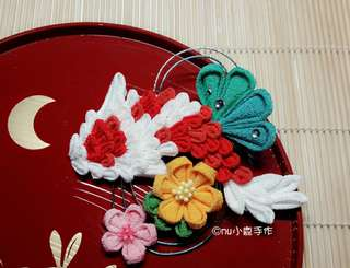 🚚 【mu小鹿手作】浴衣/和服 日本縐布和風布花髮飾 (鯉魚/紅白)