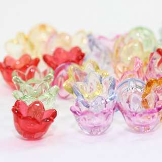 10mm Flower Beads, 10x6mm, Small Beads, Bell Beads, Transparent Flower Beads, Acrylic Beads, Plastic Beads, Bead Caps