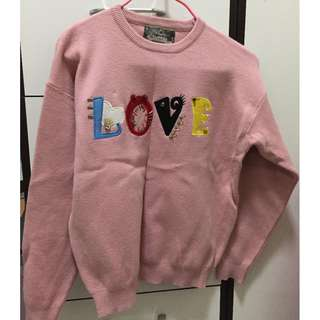 top - pink winter top with LOVE words