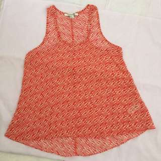 Forever 21 Red and White Sheer Tank