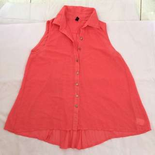 Sheer Coral Pleated Back Top