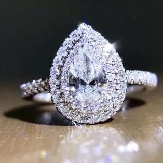 50分梨形水滴形VVS1(E色)18k白金鑽石戒指GIA證書💎全新情人節禮物求婚戒指女朋友