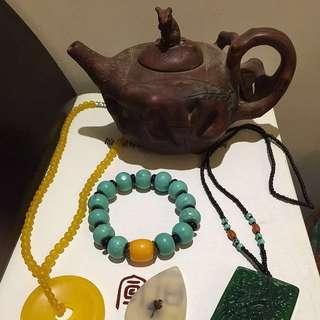 黃龍玉平安扣,翡翠掛牌,松石串,名家壺