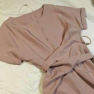 Waist Wrap Pastel Pink Slit Dress