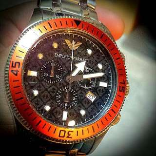 Limited Rare ARMANI Chrono Watch - Orange - Big Size. Beautiful