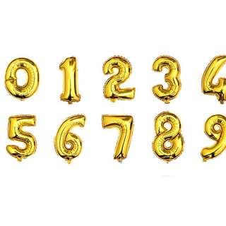 16 INCH NUMBER FOIL BALLOONS - BIRTHDAY / ANNIVERSARY DECORATION DIY