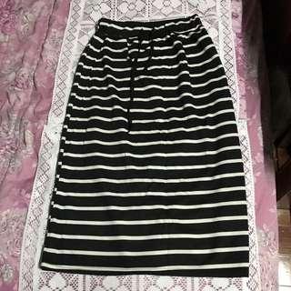 棉質條紋長裙