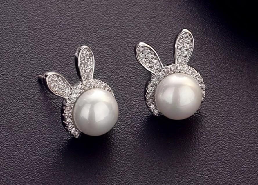 全新韓國氣質純銀兔子耳針珍珠簡約耳墜