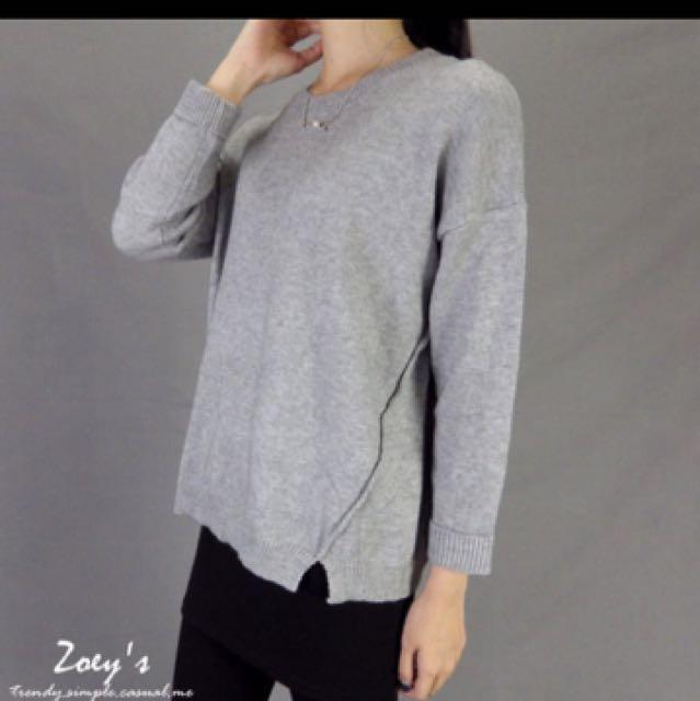 反摺袖開衩針織毛衣