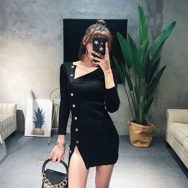黑色排釦針織連身包裙