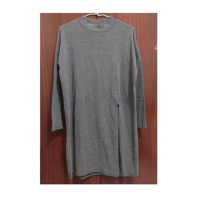 深灰色開衩長版上衣(全新)