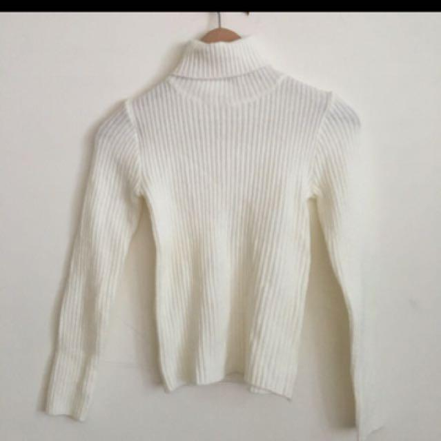 翻領高領針織毛衣