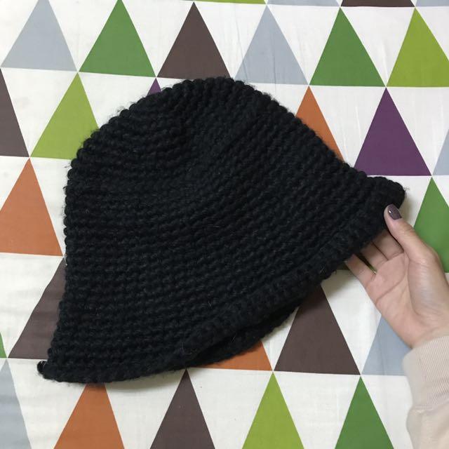 黑針織寬口毛帽(厚)