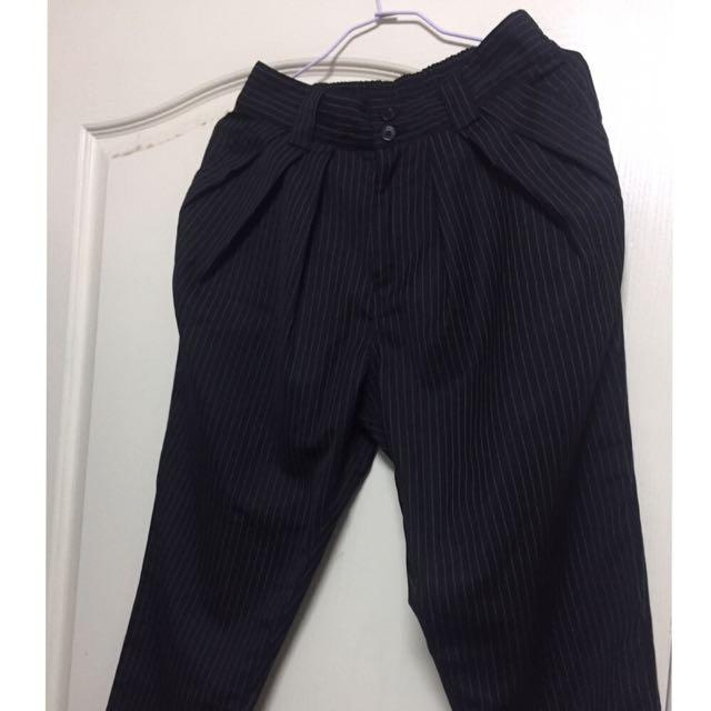 黑色條紋西裝哈倫褲