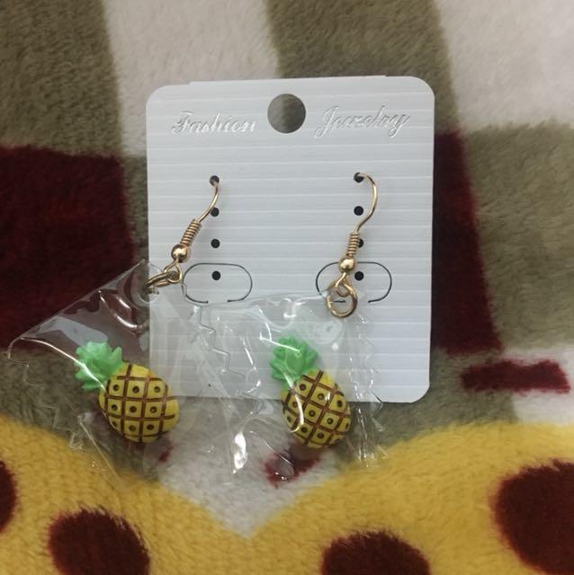 鳳梨耳針耳環