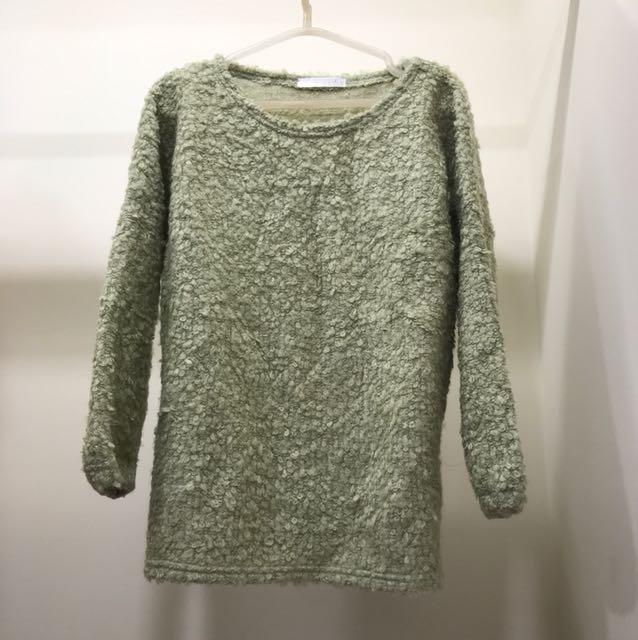二手-青蘋果綠針織毛衣