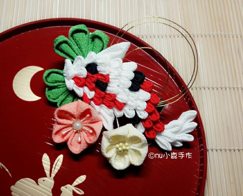 【mu小鹿手作】浴衣/和服 日本縐布和風布花髮飾 (鯉魚/紅白黑)
