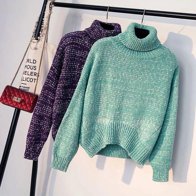 高領雪花綠色毛衣-前短後長
