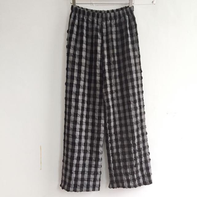 韓國製 立體織法黑白格鬆緊寬褲