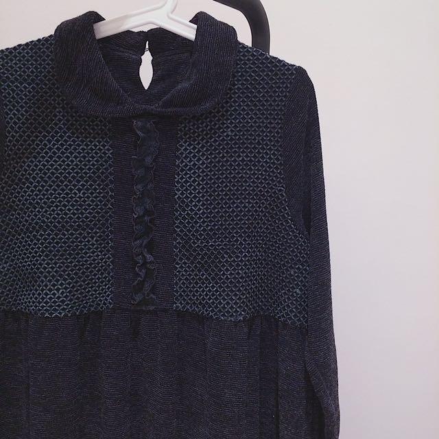 黑灰 針織長洋裝 dress 日本古着