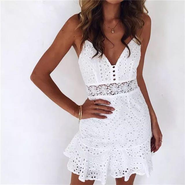 超美 希臘女神純白洋裝